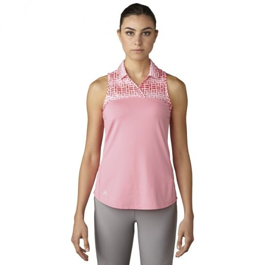 Easy Pink Adidas Ladies Merch Print Sleeveless Golf Polo Shirt now at one of the top shops for ladies golf apparel #lorisgolfshoppe