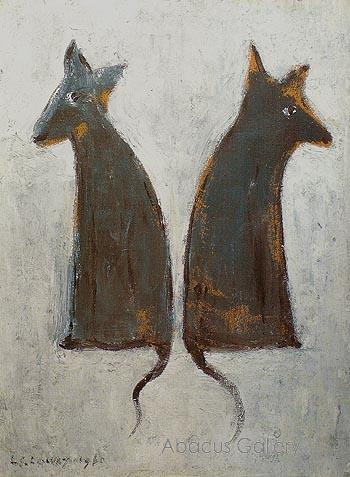 LS Lowry reproduction paintings 'Two Dogs' 1961.