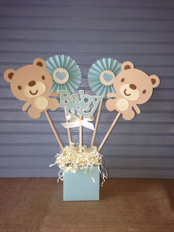 Teddy bear baby centerpiece centros de mesa mesas y osos for Centro de mesa baby shower