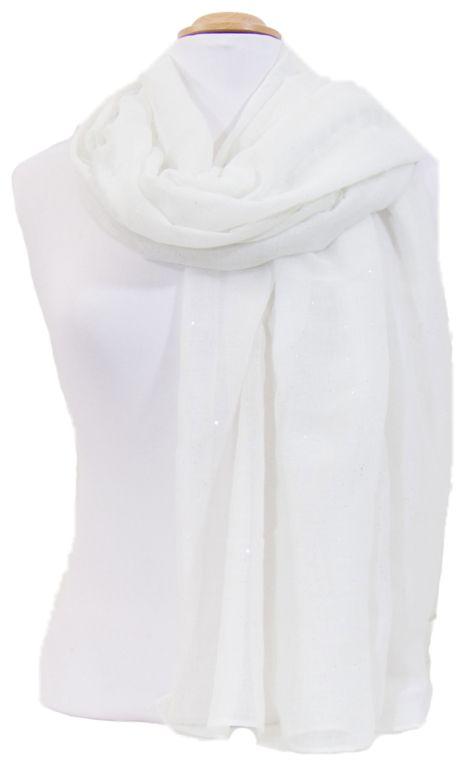 Foulard blanc fines paillettes. Découvrez sur mesecharpes.com + de 150  foulards chic pour femmes. Port gratuit et paquet cadeau offert    mesecharpes.com ... 691140fbd0f