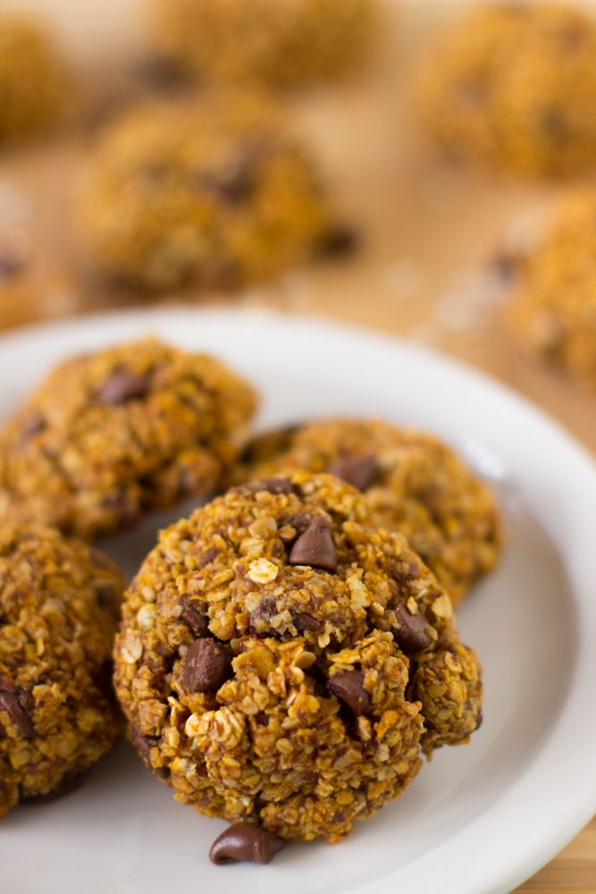 These Pumpkin Chocolate Chip Oatmeal Breakfast Cookies are cookies so healthy they can be eaten as breakfast! They're super tasty, gluten free and vegan! #breakfastcookies #pumpkin #chocolatechip #glutenfree #vegan #healthy