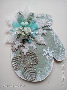 Скрапбукинг Новый год Ассамбляж Магниты Варежки Бумага Картон фото 3