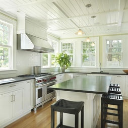 Beadboard Ceiling Design Pictures Remodel Decor And Ideas A Farmhouse Kitchen In 2019 Cottage Kitchens White Granite