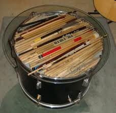 Bass drum table percussion projects pinterest drum for Repurposed drum shelf