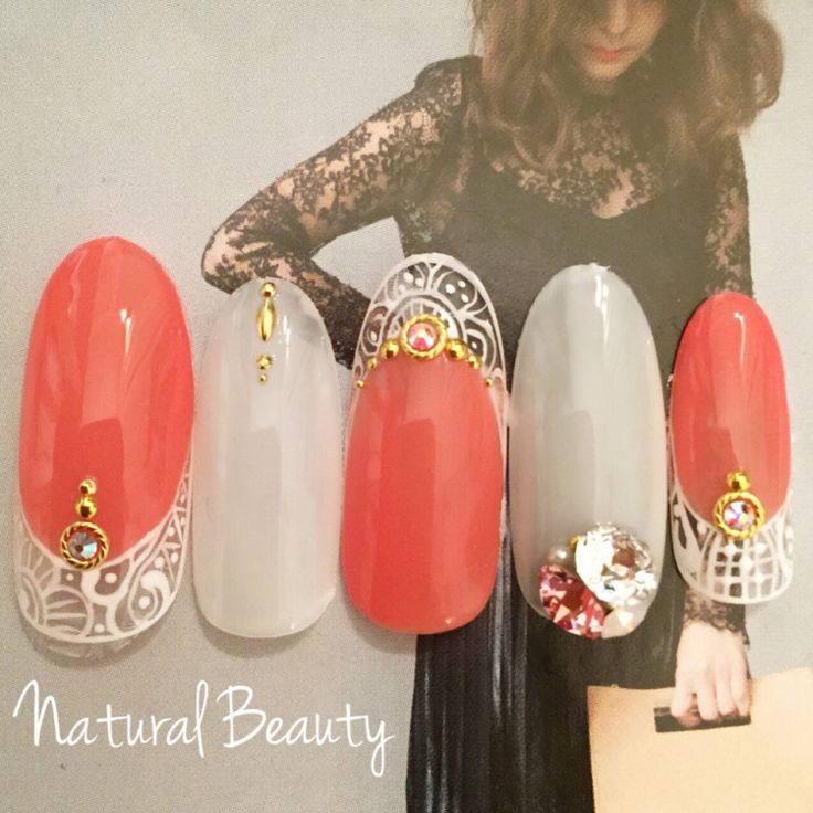 Orange nail #handnail #ハンドネイル #nail #ネイル #nailart #ネイルアート #lookbook #ルックブック…