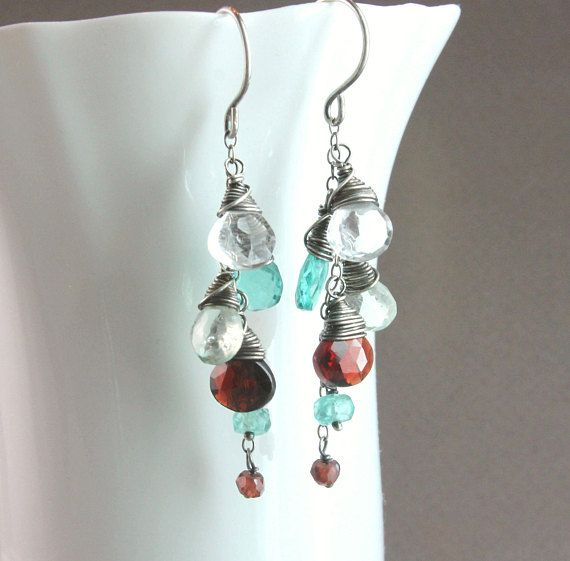 Cluster Gemstone Earrings Oxidized Silver Colorful Dangle