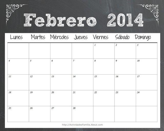 Calendario de celebraciones en Febrero de 2014: Puedes descargar este calendario de Febrero 2014 en la sección imprimibles