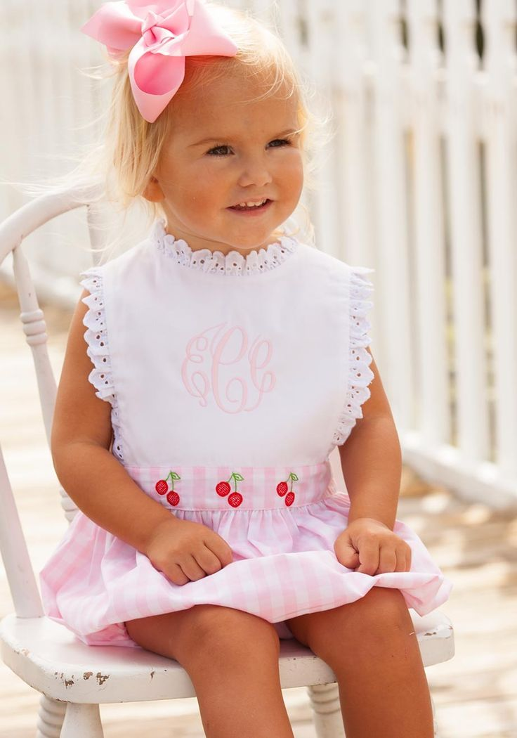 cherry romper embroidered eyelet pink classic bubble fruit