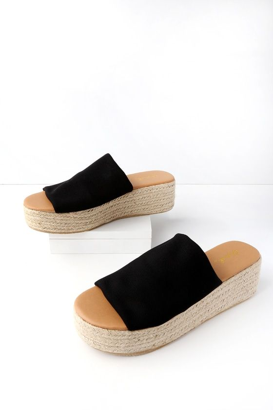 14a845558f6 Live life the island way in the O ahu Black Flatform Espadrille Slides! A  wide