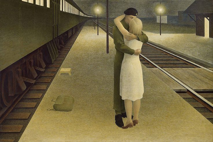 Alex Colville, Soldier and Girl at Station, 1953. Glazed tempera on hardboard, 40.6 x 61 cm