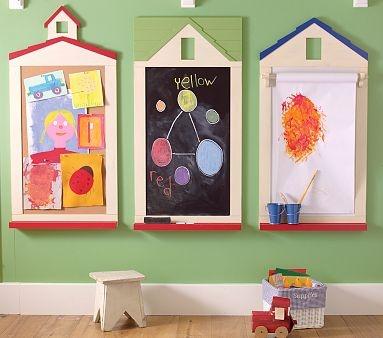 Playroom Chalkboard, Cork Board, and Whiteboard