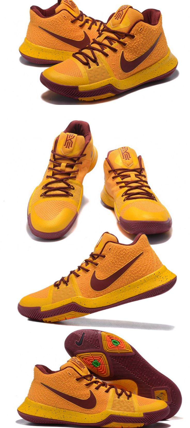 #NikeKyrie3 #Shoes #KyrieLrving #BasketballShoes #AllStarGame #SHOES Now strap-less and with more traditional Swoosh branding, the Nike Kyrie 3 denotes a taped forefoot alongside a reshaped outsole for greater traction to aid in Irvin's quick cuts and ability to stop on a dime - See more at: http://www.inbamart.com/kyrie-irving-Gear/zoom-kyrie-3-nike-mens-basketball-shoes-5
