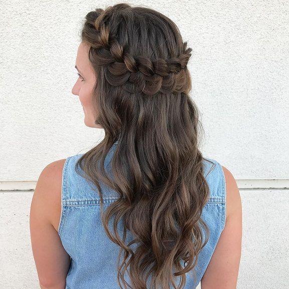 hairstyle,hairstyle ideas,dutch crown braid half u…