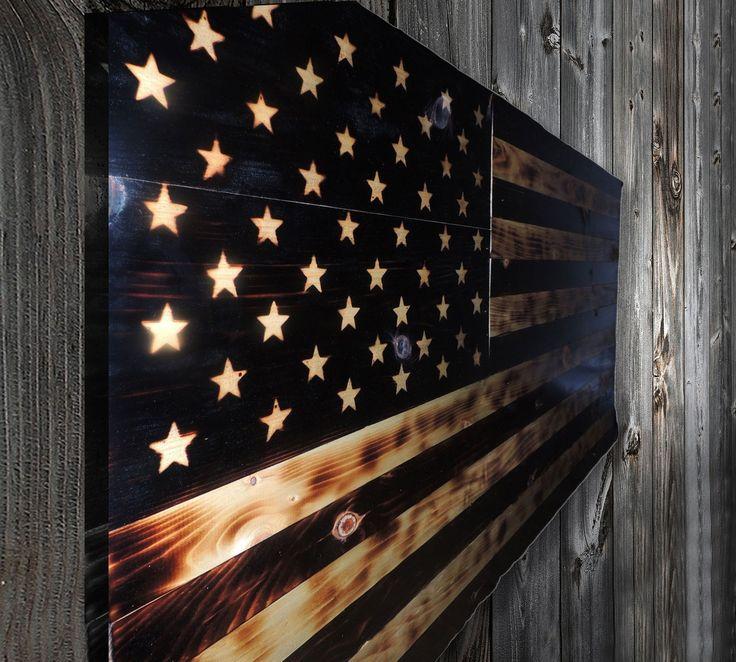 Wood Burned Old Glory Flag - 11Bravos.com