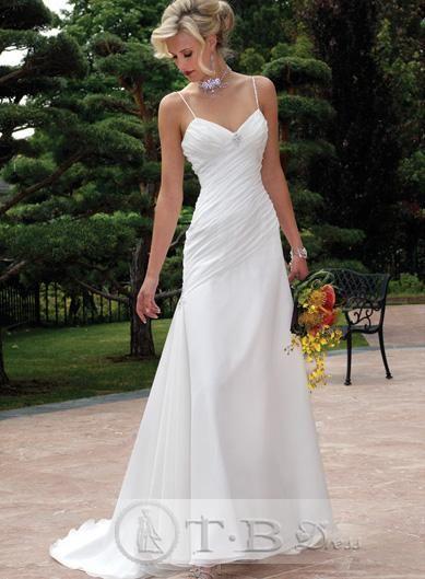 Simple fit spaghetti strap wedding dresses chapel train v neck for Plain wedding dresses with straps
