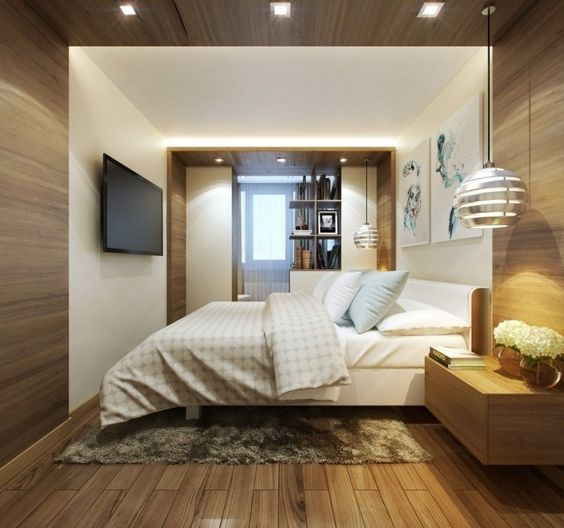 Holz-Paneele mit Einbauleuchten - Fernseher an der Wand montiert
