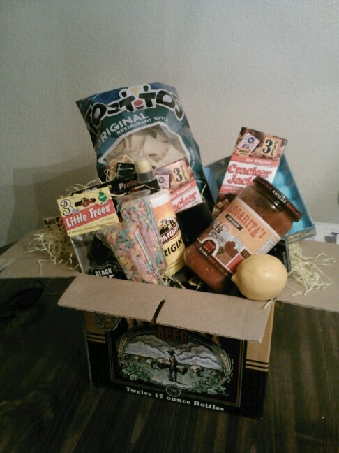 86 best easter basket ideas images on pinterest 60th birthday mens easter basket left the beer in the box added goodies on top huge negle Images
