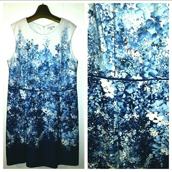 <SANDRA DARREN> Blue Floral Dress Beautiful cobalt blue and white dress with flattering shape. Back zip. Polyester/spandex. Hand wash and line dry. Brand new with tags. Also available in size 22 in my closet.   Packages wrapped with love  20% off bundles! Sandra Darren Dresses