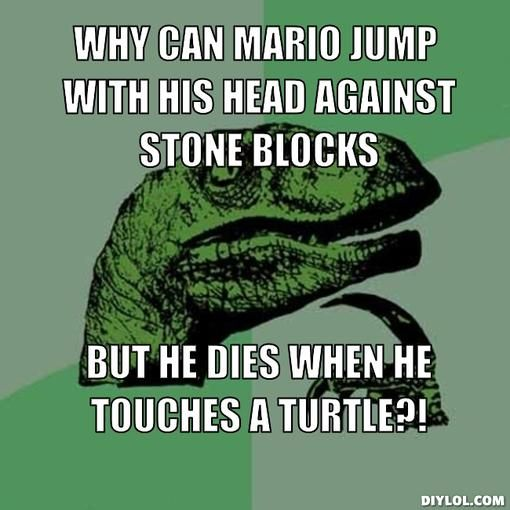 raptor memes why can mario jump with his head against
