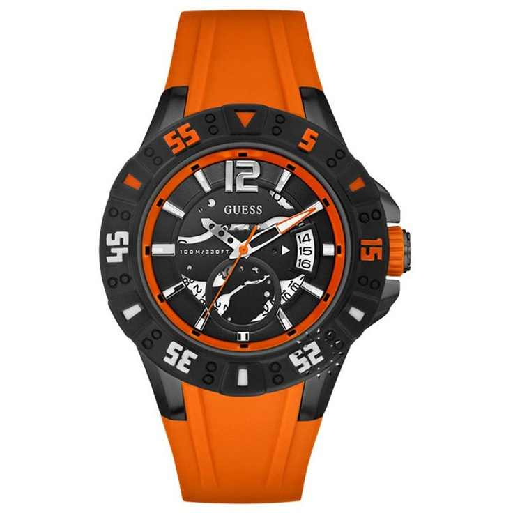 GUESS Date Orange Rubber Strap  139€  http://www.oroloi.gr/product_info.php?products_id=29262