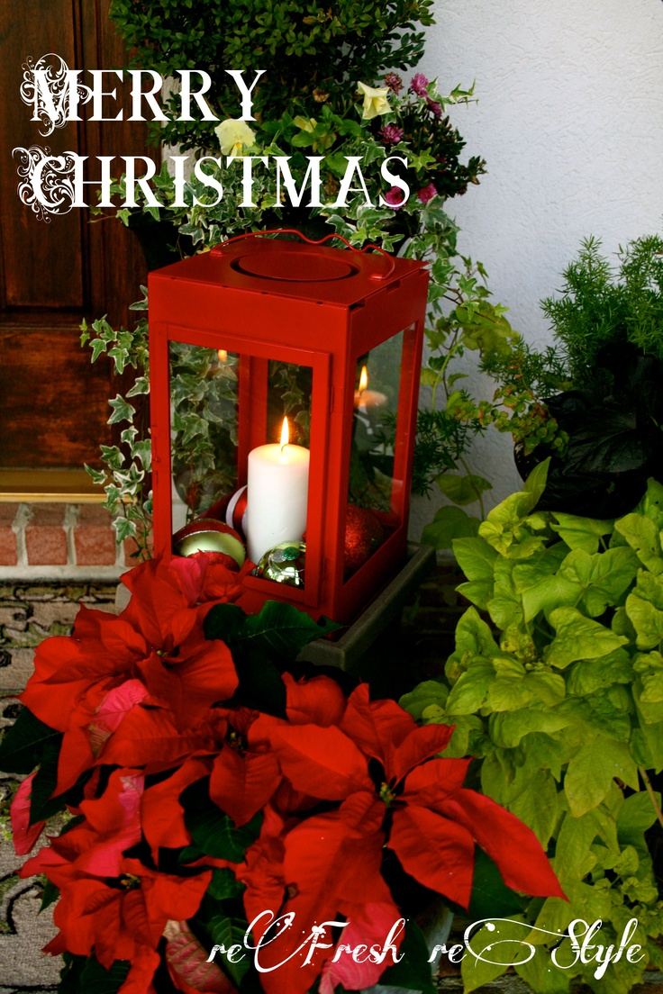 Front Porch Christmas Decor   Bright Red Lantern With Poinsettias