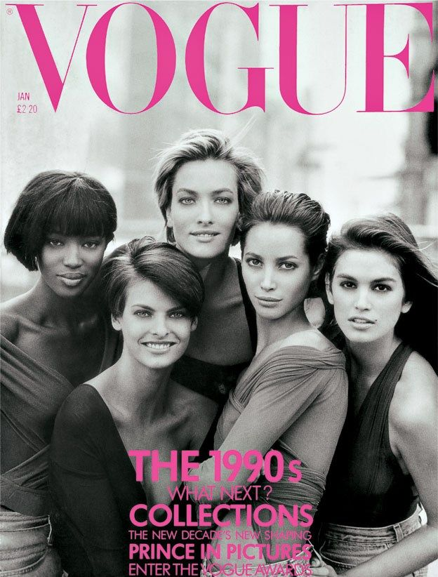 January 1990 Naomi, Linda, Tatjana, Christy and Cindy