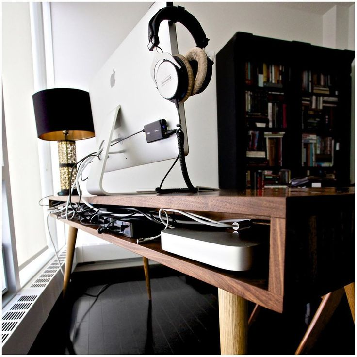 """With the classic Mid Century style, gloss white or walnut drawers, and a 8"""" cable management cubby in the back, this is the desk for you. Keep your home office space neat and tidy!! The three hardwood"""