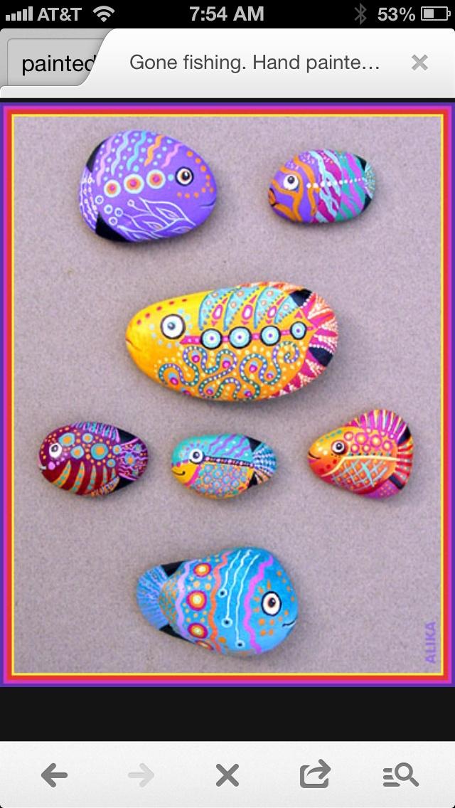Gone fishing... Painted rocks by Alika-Rikki