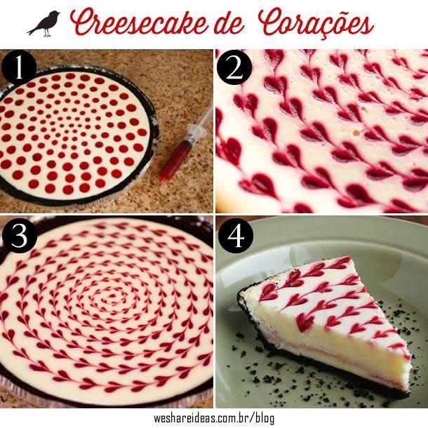 cheesecake de corações, cereja, sobremesa, sobremesa fácil, receita de cheesecake, heart dessert