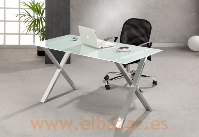 Mesa escritorio oficina glax cristal traslucido patas for Patas mesa oficina