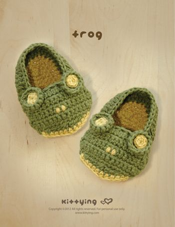 Frog Baby Booties Crochet PATTERN from mulu.us | This pattern includes sizes for 0 - 12 months.