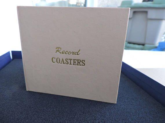 Record Coaster Set Beverage in Album Vintage Two Sets 10