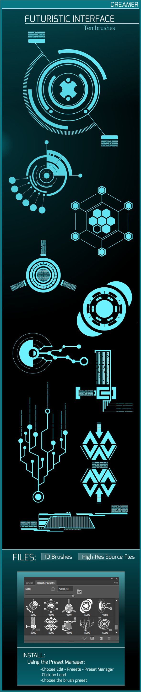 Futuristic Interface – Ten Brushes Photoshop #ps #brushes Download: graphicriver.net/…