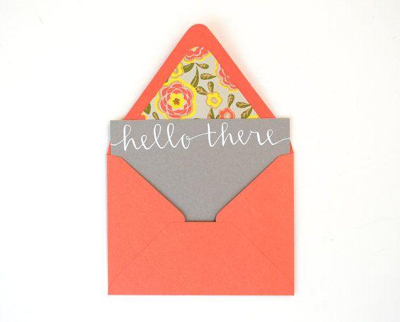 Modern Calligraphy . White Ink on Grey . Floral Lined Orange Envelopes ...