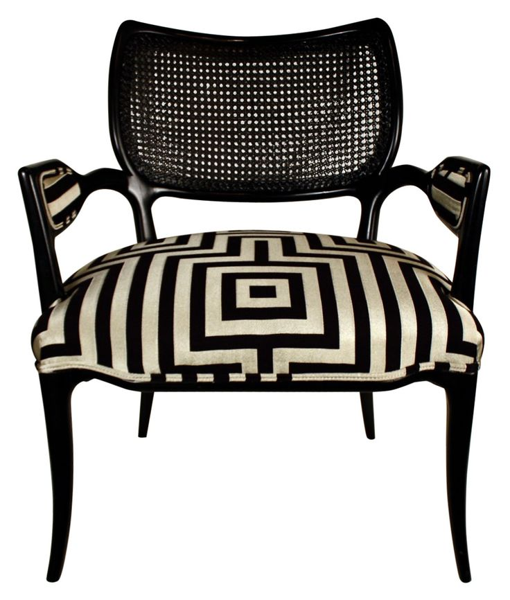Hollywood Regency Black Lacquered Chair With Geometric