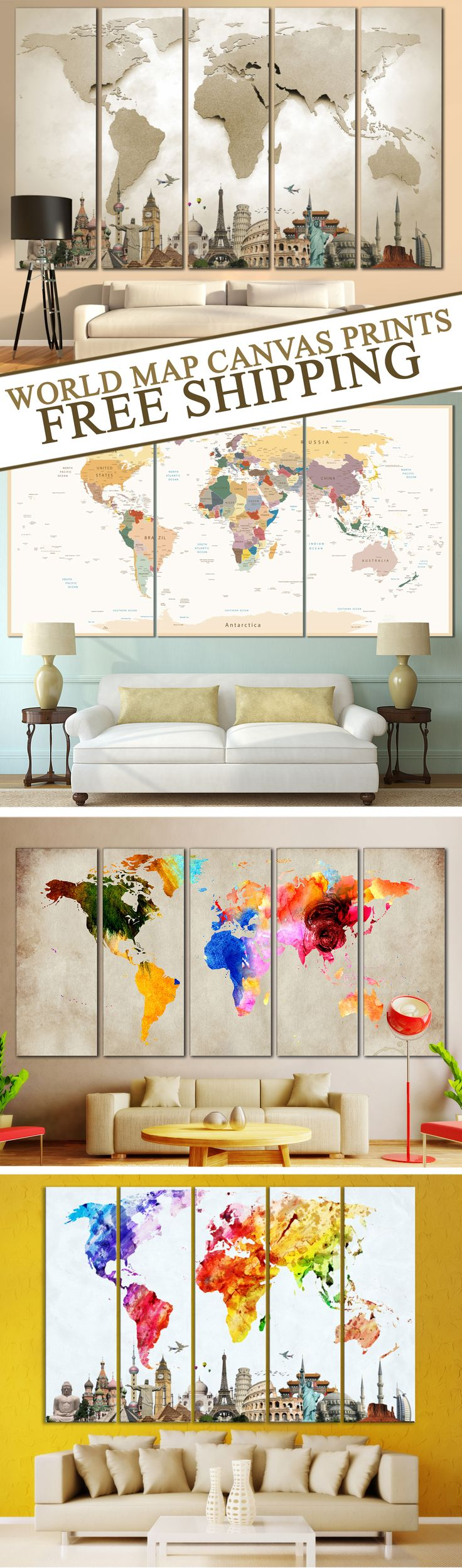 Are you looking for something aesthetic appealing to your eyes? Inspired by the beautiful colors and watercolor art, we have presented our exclusive World Map Canvas Arts for Home & Office wall Decoration. Use code:FREE2SHIP for free shipping worldwide.