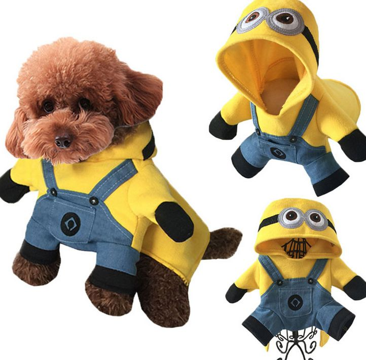 1 pcs Dog Clothes Stereo Stand Up Minions Outfit Halloween Dog Cat Clothes