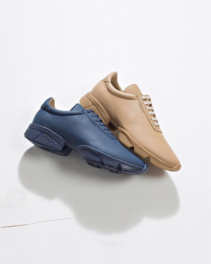 Dropping today - Velocity Sneakers in beige and navy. Handcrafted in  Portugal from matte tumbled leather. Available for women and men