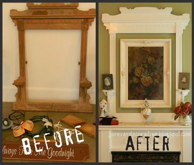 Old Mirror Frame...upcycled into a fabulous frame around a framed picture!!  Just paint out the old mirror frame & old picture frame the same color and mount on the wall together.  What a difference it makes in highlighting the picture!  Lots of before & afters shown on this site.