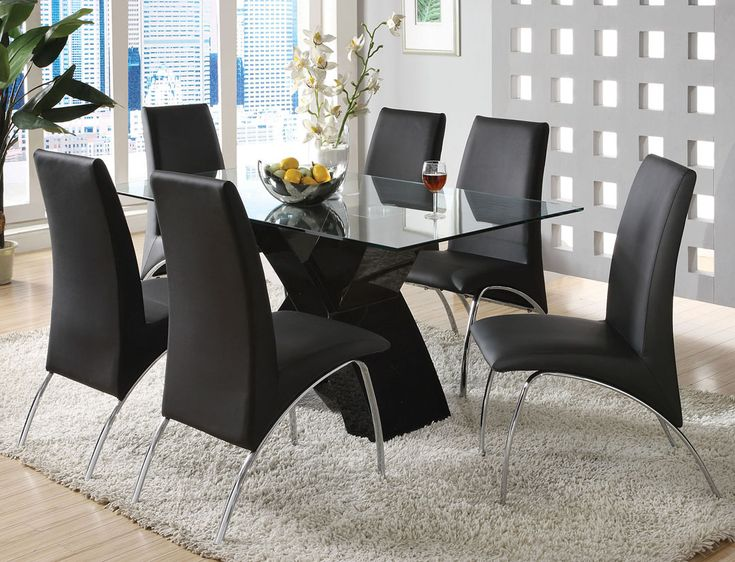 Superb Allmodern Room Setting | Seven Piece Modern Black Chrome Glass Top Dining  Table And Chair Set