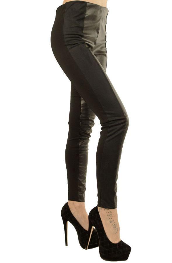 Pantalon Dama Slim Black  Pantalon dama usor elastic. Design interesant ce imbina trei materiale.  Insertie de latex pe partea din fata, talie inalta, cu elastic lat pe interior.  Model ce avantajeaza mai multe forme de silueta.     Compozitie: 30%Bumbac, 60%Poliester, 10%Elasten