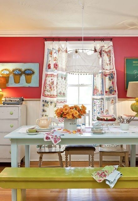 49 Colorful Boho Chic Kitchen Designs | DigsDigs... handkerchief curtains