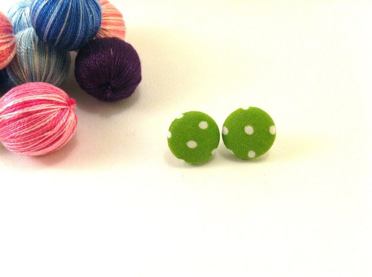 Green dots covered button earrings Get 1 pair of by Mariabuttons