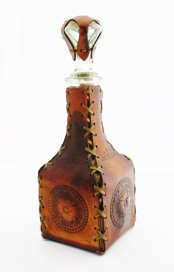Vintage Leather Decanter Unique Star Stopper by TheDustyOldShack, $24.00