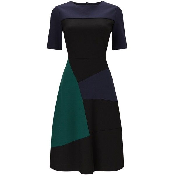 Phase Eight Rosie A-Line Colour Block Dress, Multi (€80) ❤ liked on Polyvore featuring dresses, short cocktail dresses, midi cocktail dress, long-sleeve mini dress, a line cocktail dress and evening dresses