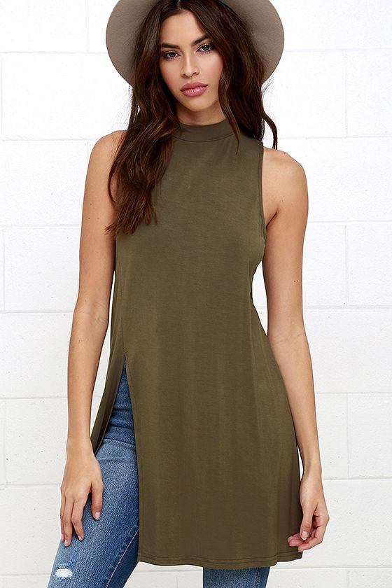 Your high-waisted jeans are going to love the On Repeat Olive Green Tunic Top! Lightweight jersey knit starts at a mock neck, and falls to a sleeveless bodice with flaring silhouette, and waist-high side slit.