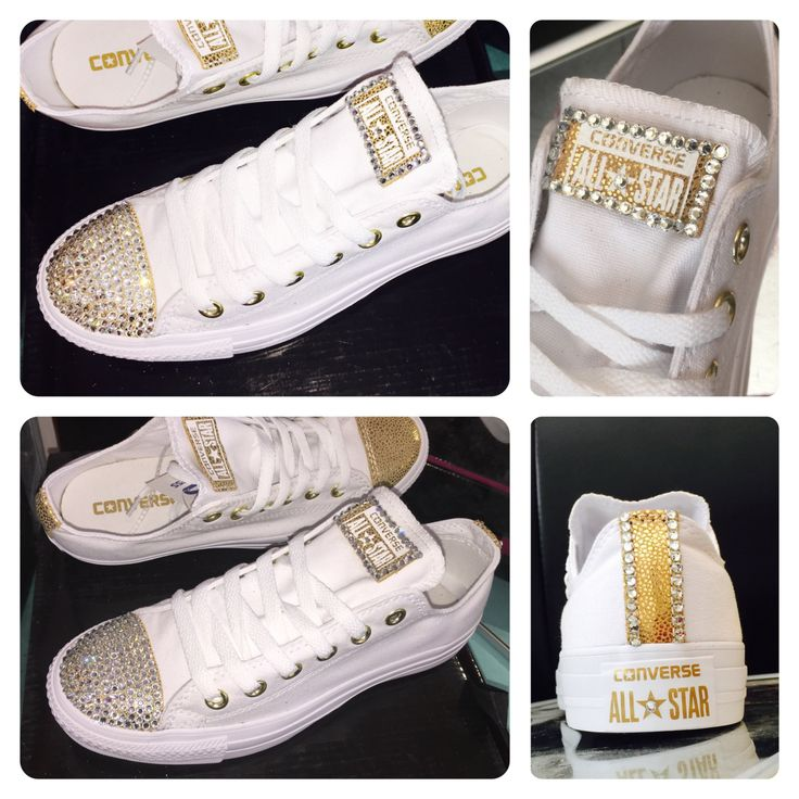 Converse all star canvas white with gold metallic swarovski crystal sneakers  shoes by CrystalCleatss on Etsy