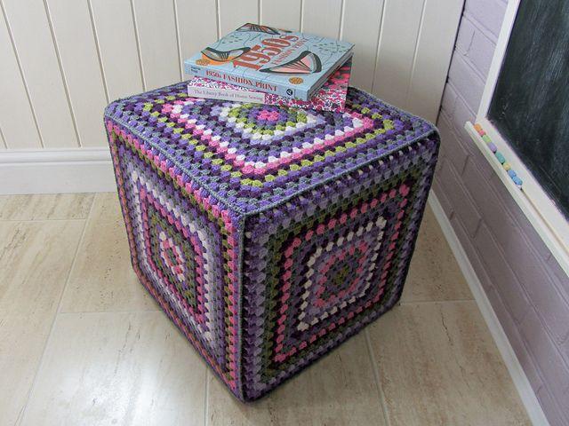 Crochet granny cube footstool table | Flickr - Photo Sharing!