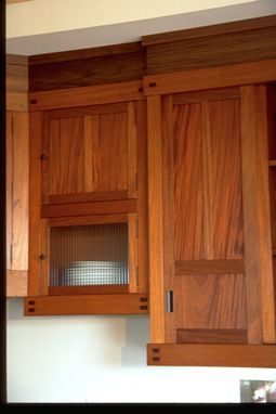 Custom Made Mahogany Kitchen Cabinet Detail Showing Walnut Accents, Reed  Glass Door Inserts.