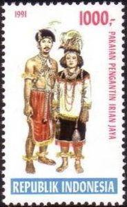Indonesia Stamp 1991  - Indonesian Costumes Pengantin Irian Jaya